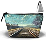 Green Bikes Cosmetic Bags Travel Toiletry Pouch Portable Trapezoidal Storage Pencil Holders