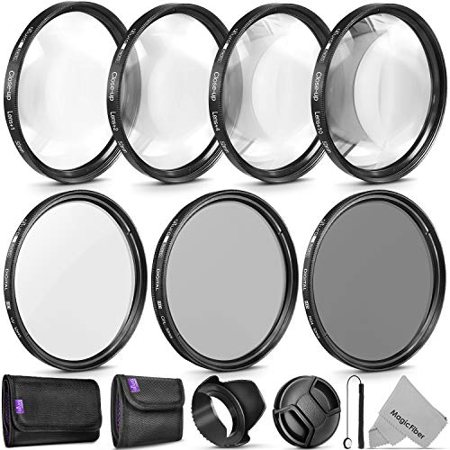 52MM Altura Photo UV CPL ND4 Lens Filter and Close-Up Macro Accessory Kit for Lenses with a 52mm Filter Size