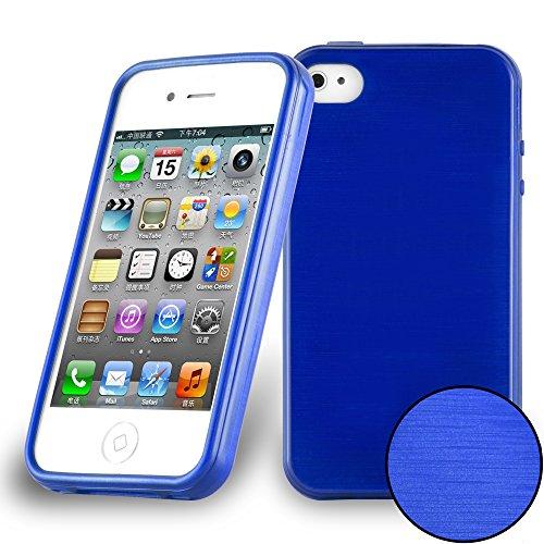 Cadorabo Custodia per Apple iPhone 4 / iPhone 4S in Blu Marina - Morbida Cover Protettiva Sottile di Silicone TPU con Bordo Protezione - Ultra Slim Case Antiurto Gel Back Bumper Guscio