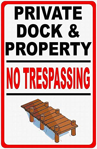 560 WENKLL Private Dock & Property No Trespassing Metal Sign 8x12inch Pub Shed Bar Man Cave Home Bedroom Office Kitchen Gift