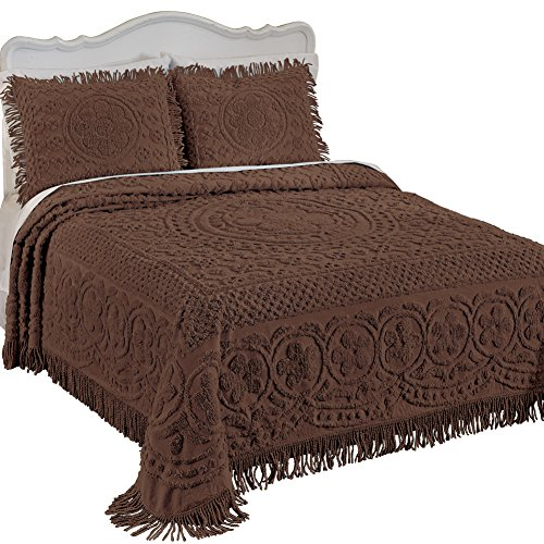 Collections Etc Calista Chenille Lightweight Bedspread with Fringe Border, Chocolate, Queen