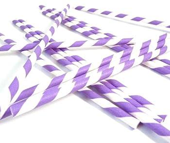 Bella Cupcake Couture Paper Party Striped Straws Purple/White  Purple/White 1