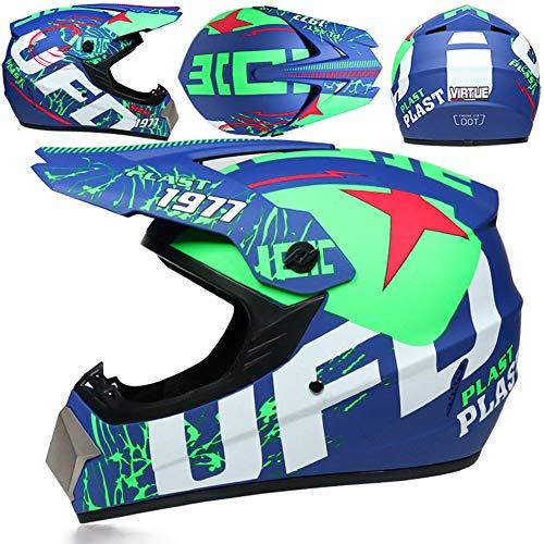 Casco Motocross Integrale,Motociclista Downhill Caschi Moto Cross Integrali per Adulti Bici Moto MTB Fuoristrada Enduro con Occhiali Maschera e Guanti,Blue Green UFO,S