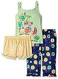 Komar Kids Girls' Big 3 Piece Jersey Pajama Set, Fruit Salad, Small