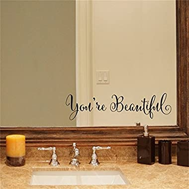 YINGKAI You're Beautiful Quote Mirror Decal Vinyl Decal Living Room Vinyl Carving Wall Decal Sticker for Home Window Decoration