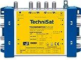 TechniSat TECHNISWITCH 5/8 G2 – Multischalter (Verteiler für Satellitensignale, für bis zu 8 Teilnehmer, 100m Entfernung überbrückbar, incl. Netzeil - mit und ohne Netzteil nutzbar) blau/gelb