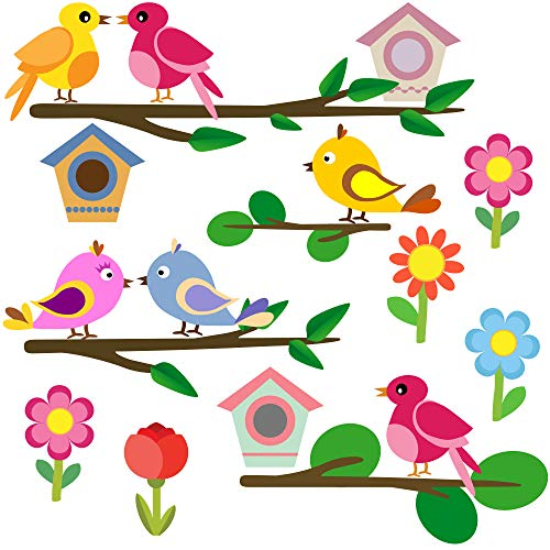 PREMYO Vögel Blumen Wandsticker Kinderzimmer Mädchen Jungen - Wandtattoo - Wandaufkleber Selbstklebend