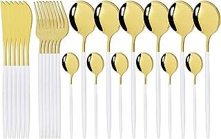 مجموعة أدوات مائدة ذهبية وردية من الفولاذ المقاوم للصدأ طقم أواني طعام 24 قطعة سكاكين وشوك وملاعق قهوة مجموعة أدوات مائدة ...