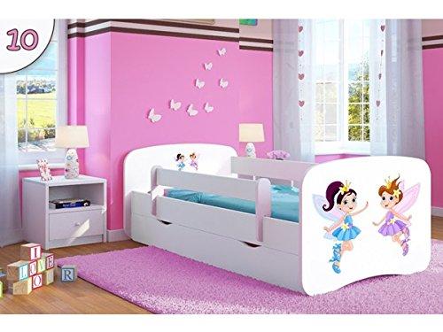 Kocot Kids Kinderbett Jugendbett 70x140 80x160 80x180 Weiß mit Rausfallschutz Matratze Schublade und Lattenrost Kinderbetten für Mädchen und Junge - Tanzende Feen 140 cm