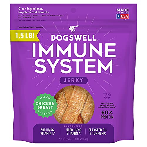 DOGSWELL Immunity & Defense, Flaxseed Oil, Turmeric, Vitamin E & A, Healthy Aging, Chicken Jerky 24 oz (842197)
