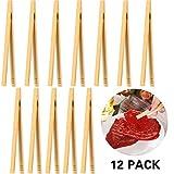 Mudder 12 Pezzi Pinze di bambù Pinze per Toast in Legno Pinze da Cucina in bambù per Cucinare, Pane, tè alla Frutta e Sottaceti, 7 Pollici