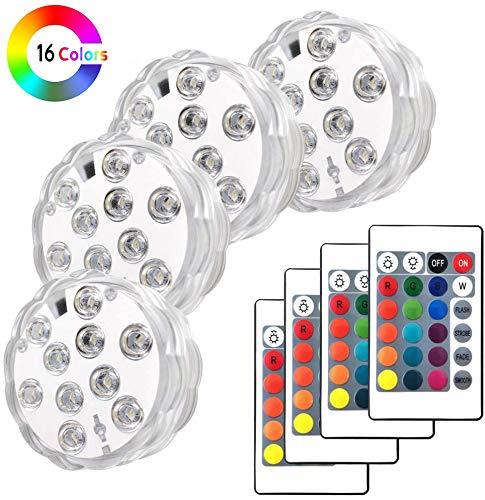 Piscina a LED con telecomando, Keyixing 4 confezioni Luci subacquee a fontana Luci a LED sommergibili per acquario, vasca idromassaggio, stagno, pisci