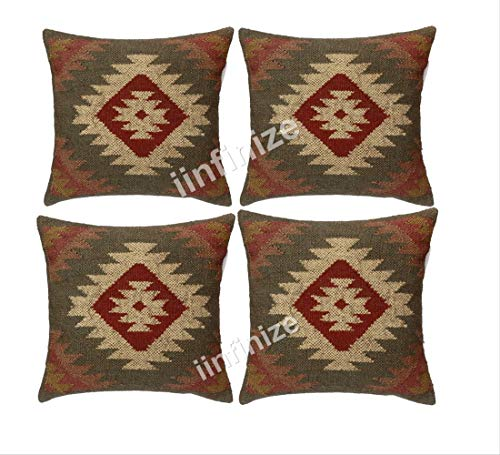 iinfinize Set Of 4 Kilim Pillows Floor Cushion cover Handwoven Kilim Jute Cushion, Vintage Cushion Covers 18 x 18, Kelim Throws Pillows Bohemian Sham Pillow Cases Indian Ethnic Cushion Covers