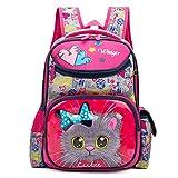 Debbieicy Cute Cat Face Printing Backpack Waterproof Princess School Bag Kids Bookbag for Primary Girls (Rose cat)