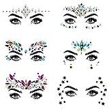 URAQT Gemas Faciales, 6 Juegos Cara Gemas Brillo, Pegatinas Festival, Joyas de Diamantes de Imitación para Ojos para Espectáculos y Maquillaje