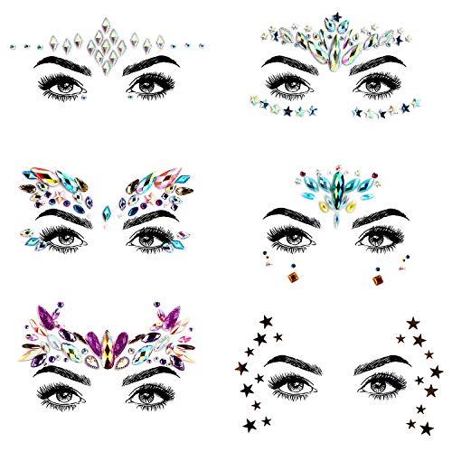 URAQT 6PCS Gesicht Edelsteine,Temporäre Tattoos Gesichts Aufkleber, Schmucksteine Selbstklebend Gesicht, Glitter Bindi Strass Juwelen Face Sticker für Glitzer Effekt, Parties, Shows, Festival,Make-up