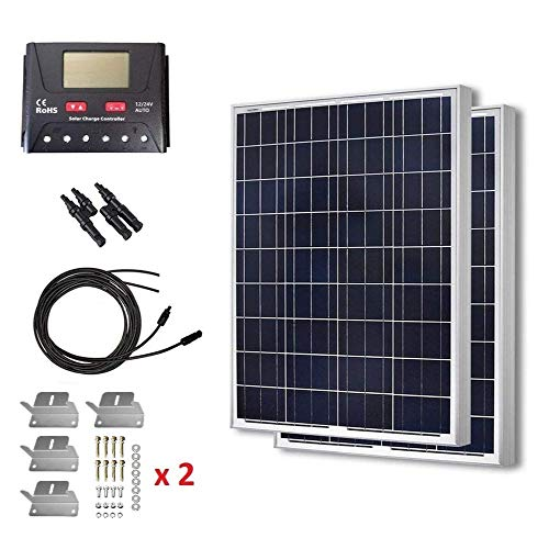 HQST 2 Packs 100 Watt (200W) 12 Volt Polycrystalline Solar Panel Kit with 30A PWM LCD Common Postive Solar Charge Controller, 20Ft 12AWG Solar Cable, 2 Sets Z-Brackets, Y Branch Connectors
