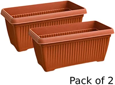 Creative Farmer Garden Essential Plastic Window Rectangle (30 * 15 * 14Ht cm) for Balcony Colour : Terracotta (Pack of : 2Nos)