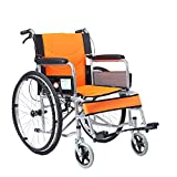 MinMin Rollstuhl - Faltbarer Rollstuhl Old Man's Schubkarre Tragbare Behinderte Multifunktions Old Scooter (4 Farben) Medizinische Ausrüstung (Color : Orange) -