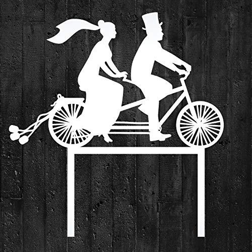COXIMUS backen und mehr Cake-Topper Brautpaar auf Fahrrad aus Lebensmittelechtem Acryl in weiß