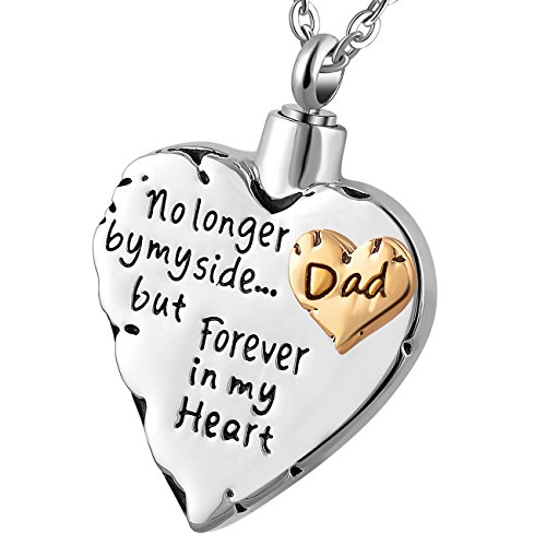 memorial necklace for mom,dad,pet,no longer by my side forever in my heart cremation pendant jewelry