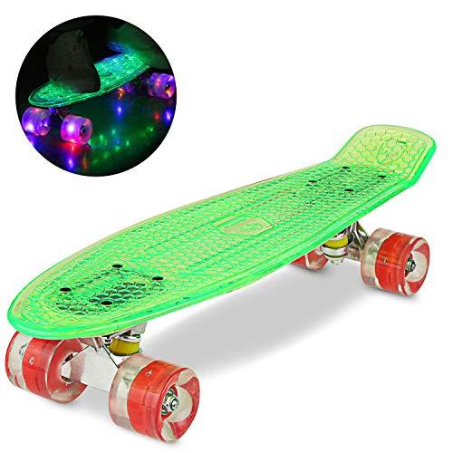 WeSkate 55CM Mini Cruiser Skateboard Kunstsoff Flashing mit LED Leuchten/Deck Komplett Retro Skate Board für Jungen Mädchen Kinder Jugendliche Erwachsene