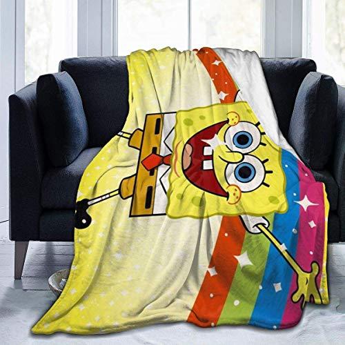 Spongebob Rainbow Ultra-Soft Micro Fleece Blanket,Utilizado para la Silla del sofá Cama - Manta de Cama Premium All Season,50X40 Pulgadas