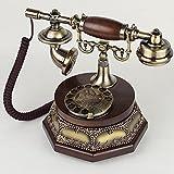 Fengflaw Teléfono De Casa De Línea Fija Retro, Teléfono Antiguo Tocadiscos Nueva Réplica Teléfono Antiguo Imitación Madera, Moda Los Años 60 Escritorio Giratorio Clásico Máquina con Cable Hogar