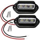 2PCS Xenon White LED License Plate Light, 12V-24V DC Waterproof 6-SMD License Plate Lamp Taillight, For Truck SUV Trailer Van RV Boats as Step Courtesy Light, Dome/Cargo Lights or Under Hood Light