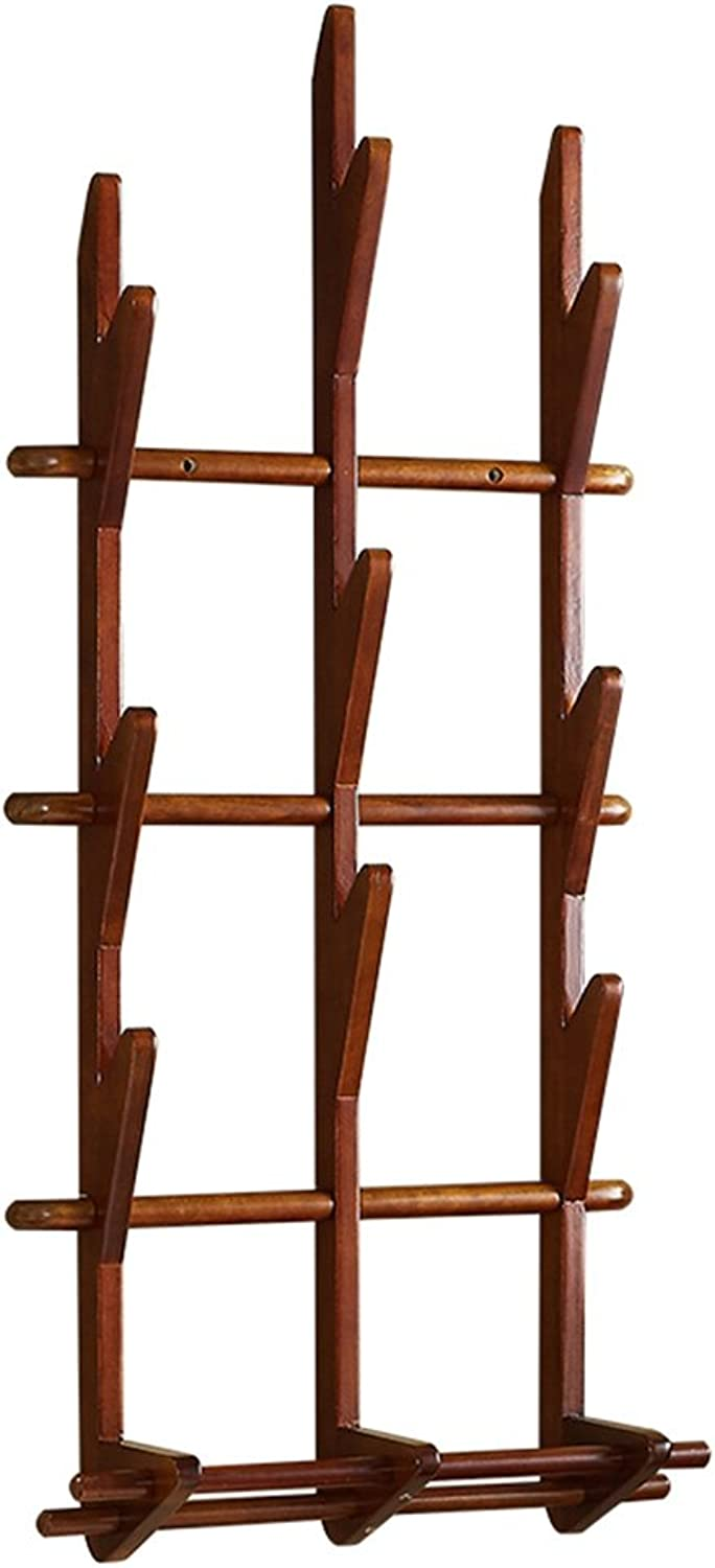 LIANGJUN Wall Coat Rack Clothes Hat Hanger Holder Solid Wood Tree Branches Creative, 2 colors Available, 100x45.5x14CM Jacket Scarf Porch (color   Brown)