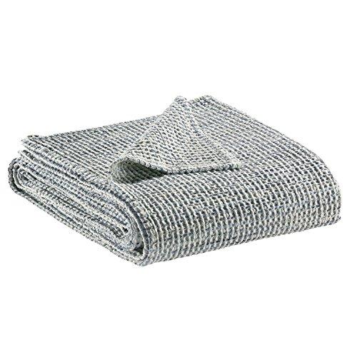 Vivaraise - Jeté de lit - Couvre-lit - Couverture lit - Drap lit - Jeté de lit décoration - 180 x 260-100% Coton - Indigo Bleu - Mayana