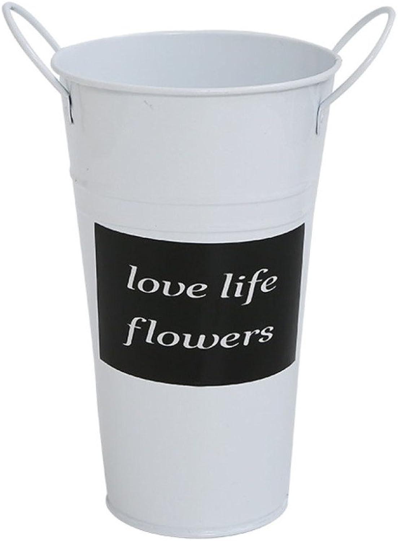 LDFN Iron Umbrella Stand Garden Entance Office Multifunctional Decorative Flower Bucket Storage Bucket,White-22  38cm