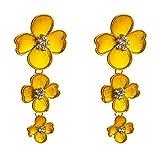 Oyfel Pendientes Bali Antigua Atrapasuenos Piedras Boho a Mano Asiaticos Asimetricos Piedra Flor de Loto Lotus Flores Largos Hada