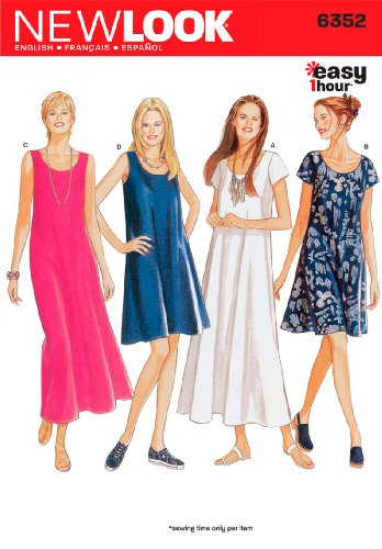 New Look Sewing Pattern 6352 Misses Dresses, Size A (8-10-12-14-16-18)
