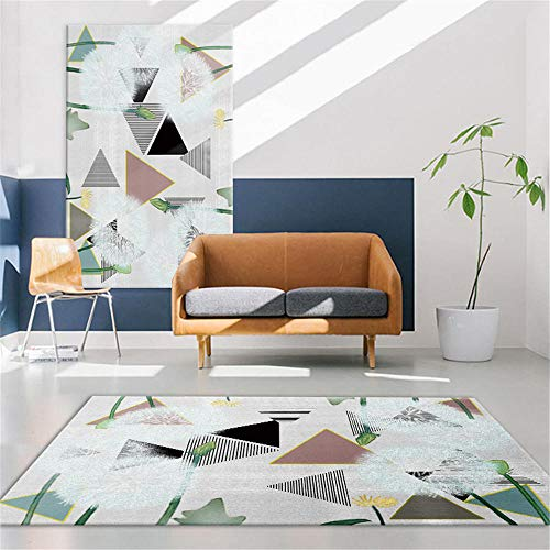 DJHWWD Tapis Lavable Tapis Vert Simple Motif Triangle Doux et Durable antidérapant Grand Tapis De Salon Grand Tapis Exterieur Vert 200X250 CM