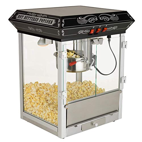 Buy Discount Funtime FT825CB Antique Carnival-Style 8-Ounce Tabletop Hot-Oil Popcorn Popper, Black