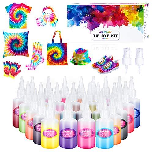 Tie Dye Kit, 26 Stück DIY Textilfarbe, ungiftig, Vibrant Krawattenfärbe-Set, mit 100 Stücke Gummi Band&10 Paare handschuhe, Stoff Textil Farben Batikfarben Set Kunsthandwerk für Kinder und Familie DIY