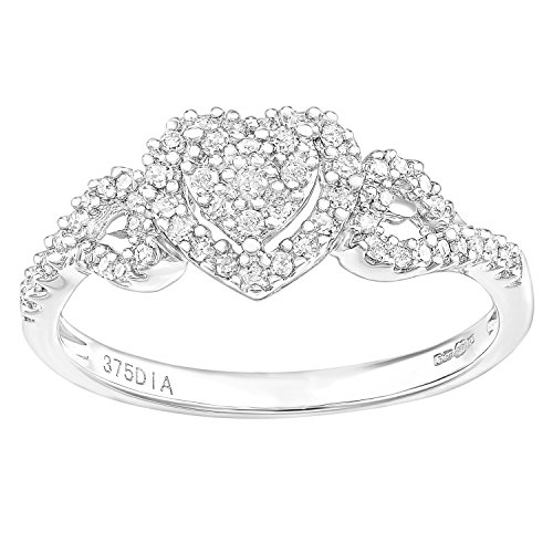 Naava 9ct White Gold Heart 0.25ct Halo Diamond Engagement Ring - Size P