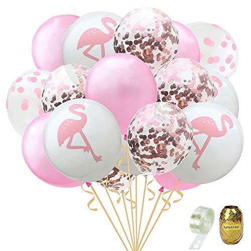 Yuccer Flamingo Ballons, Konfetti Luftballons Helium Palme Blätter Ballons Ballonstreifen für Hochzeit und Geburtstag Hawaii Party Dekorationen Luftballons 22 Pcs (A Pink)