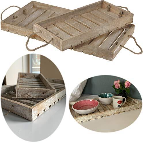 LS-LebenStil 2X Holz-Tablett Serviertablett Set Braun Weiß Deko-Tablett Bett-Tablett