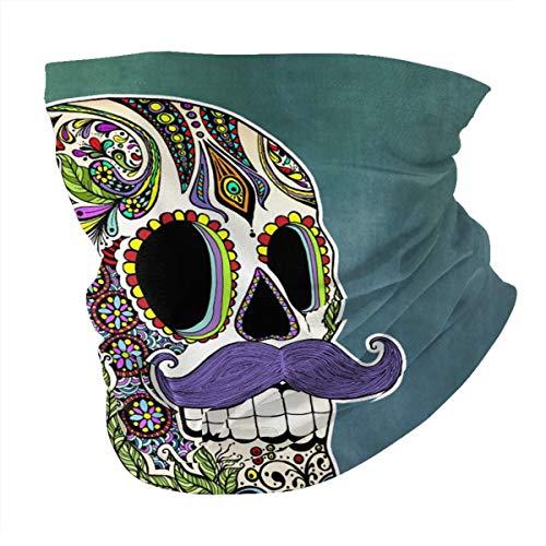Colorful Aztec Skull Sugar Skull Men Womans Seamless Scarf Balaclava Mask-Neck Gaiter Head Cover Mask Sunscreen UV Protection for Climbing Reusable