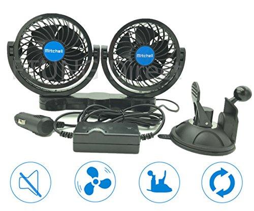 FTUNG 12V Auto Ventilator mit Saugfuss, 360 Grad Drehung - 9 Ft Kabel & 3M 7W