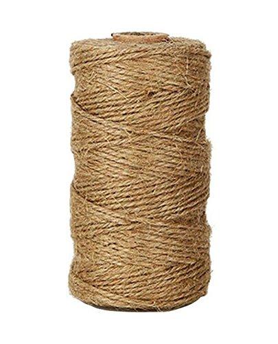 Vommpe Corde de Chanvre 1,5–2 mm Ficelle de Jute 328 Pieds épais Cordon en Jute Corde pour fleuristes, Jardin, liasses, Cadeaux, décoration et DIY Crafts