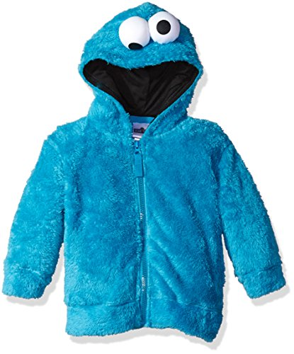 Sesame Street Toddler Boys' Fuzzy Costume Hoodie (Multiple Characters), Cookie Monster Blue, 4T