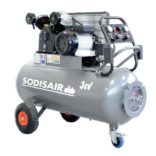 Sodisair - Compresseur professionnel en V sur roue, 200L