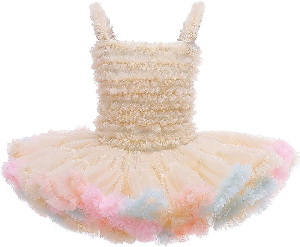 Uhnice Little Girl's Sleeveless Tutu Dress for Princess Party