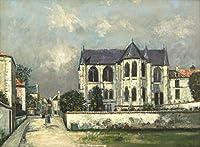 Maurice Utrillo ジクレー キャンバスに印刷 -有名な絵画 美術品 ポスター-再生 壁の装飾(ユトリロモーリス教会St Leger Crop Wec) #XFB