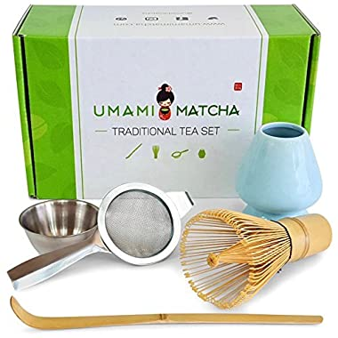 UMAMI MATCHA Traditional Tea Set | Bamboo Matcha Whisk & Scoop | Stainless Steel Sifting Strainer | Ceramic Blue Wisk Holder | Best Authentic Accessory Kit For Japanese Matcha Green Tea Ceremony
