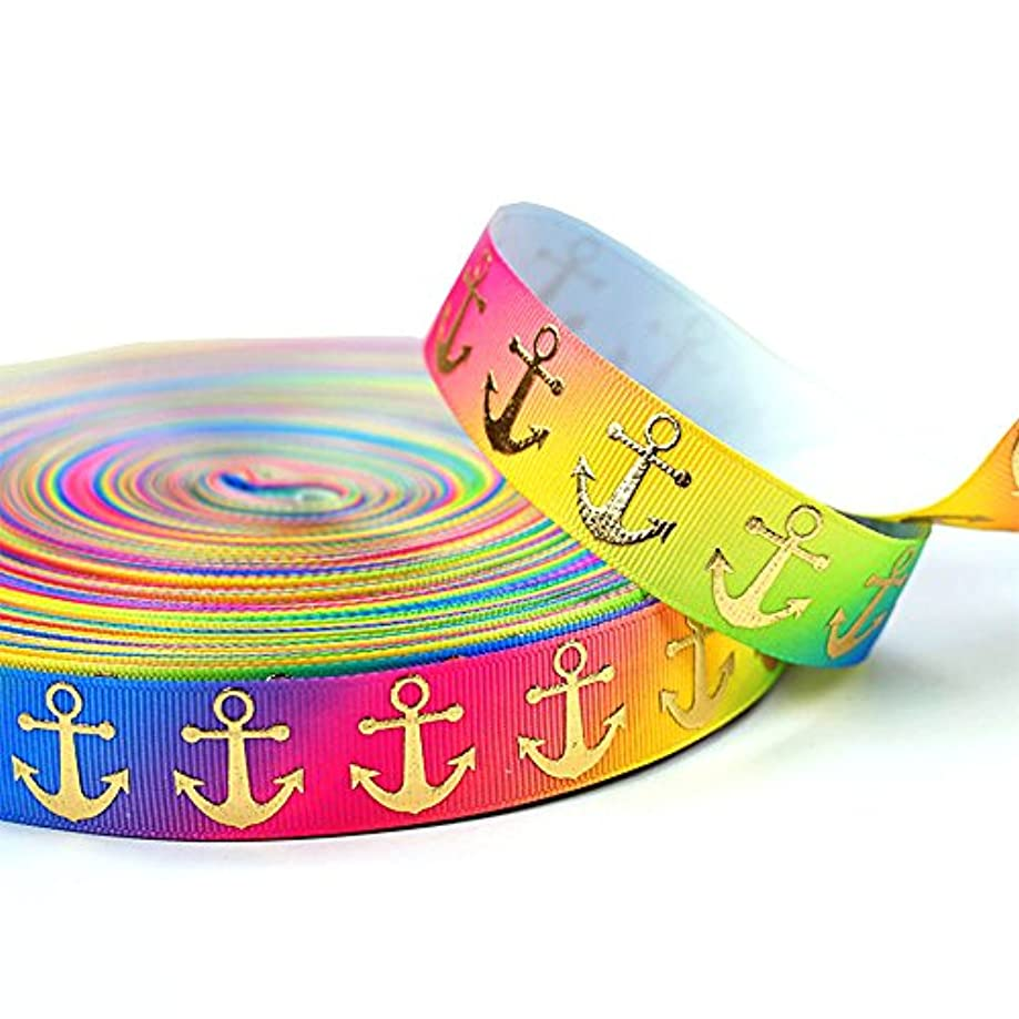 Polyester Grosgrain Ribbon - Sparkle Gold Anchor Navy Nautical Fabric Ribbons 10 Yards 7/8