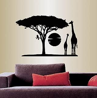 Wall Vinyl Decal Home Decor Art Sticker Africa Savannah Giraffes Tree Wild Animal Safari Landscape Travel Removable Stylish Mural Unique Design For Any Room 353